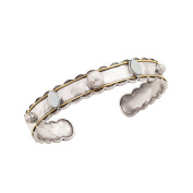 """Silpada 'Frosted' Sterling Silver, Brass, Mother-of-Pearl and Pearl (7-7.5mm) Cuff Bracelet, 6.75"""""""