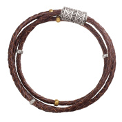 Silpada Sterling Silver, Brass, and Genuine Leather Multi-Purpose Bracelet, 70cm