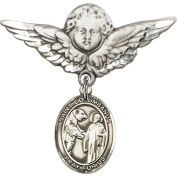 Sterling Silver Baby Badge with St. Columbanus Charm and Angel w/Wings Badge Pin 2.9cm X 2.9cm
