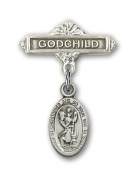 ReligiousObsession's Sterling Silver Baby Badge with St. Christopher Charm and Godchild Badge Pin