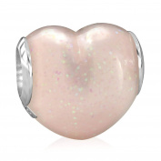 BELLA FASCINI Pink Glitter Heart Bead Charm Silver Fits All Compatible European Bracelets and Bangles