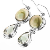 Green Coin Freshwater Cultured Pearl Green Amethyst 925 Sterling Silver Earrings, 3.2cm