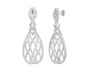 Sterling Silver Long Figure 8 Drop & Dangle Earrings with CZ