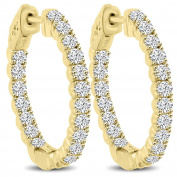2.10 ct Ladies Round Cut Diamond Hoop Huggie Earrings in Yellow Gold