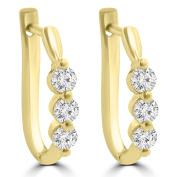 1.10 ct Ladies Round Cut Diamond Hoop Huggie Earrings