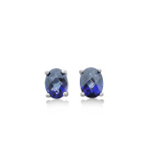 Royal Blue Topaz Stud Earrings - 2 CT Total, Claw Set in 925 Sterling Silver Post