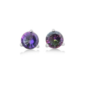 Mystic Topaz Stud Earrings - 1.5 CT Total, Claw Set in 925 Sterling Silver Post