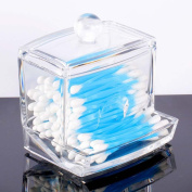New Design Clear Acrylic Cotton Swab Q-tip Storage Holder Box Cosmetic Makeup Accessory