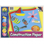 Construction Paper Pad, 12 X 9, by Tree House Kids, Assorted Colours, 36 Sheets (Pack of 3) TOTAL 108 SHEETS by Tree House Kids