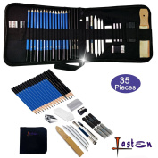 Lasten 35 Pcs Professional Sketching & Drawing Pencils Kit, Sketching Pencils Set with Erasers, Charcoal Pencils, Graphite Pencils, Art Supplies Set with Case for Artists, Beginners, School Students
