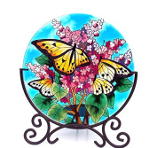 Acever Candle Holder Hand Paint Art Glass Desktop Decor Table Topper Candleware Home Decor Office Decor Calendar Stand Butterfly and Flower
