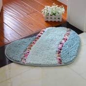 FQG*An idyllic heart-shaped ultra soft cushion bedroom bathroom floor mat door mat bath anti-slip into the suction feet floor mat ,50*60cm, pale green colour flowers 7
