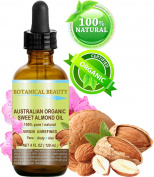ORGANIC Sweet ALMOND OIL AUSTRALIAN 100% Pure / Virgin / Unrefined. 4 oz - 120 ml. For Face, Hair and Body.