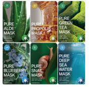 Tosowoong Pure masksheet 12PCS /Mask pack/Essence Facial Mask Sheet - Aloe/Blueberry/Green tea/Snail/Deep sea water/Propolis