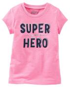 """Oshkosh Girls' Short Sleeve """"Super Hero"""" Tee in Pink with Glitter"""