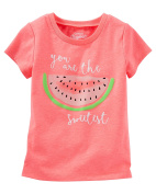 """Oshkosh Girl's Short Sleeve """"You are the Sweetest"""" Watermelon Tee Coral,"""