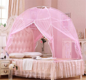Nattey Pink Bedding Canopy Mosquito Net Tent For Twin Queen Small King Bed Size