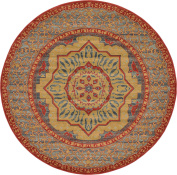 Traditional 2.4mes Round (2.4m Round) Palace Navy Blue Area Rug