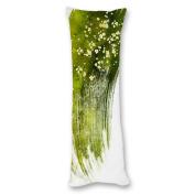 Yiuejiu White Flowers And Green Body Pillow Cover Decorative Pillowcase 50cm x 140cm