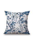 WJL Traditional Chinese Blue & White Porcelain Series 100% Cotton Embroidered Decorative Pillowcase Cushion Cover Throw Pillow Case 18 X 18 Inch 45 X 45 cm