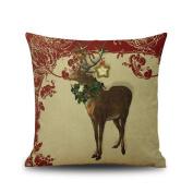 Christmas Elk Home Decoration Throw Cushion Cover Pillowcase 46cm x 46cm