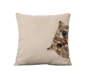 "Crazy Cart Little Cat Cotton Linen Art Decorative Pillow covers 18""18"""
