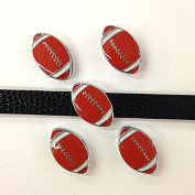 Set of 20 pc football slide charm fits 8mm wristband for jewellery /crafting