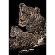 Copper Foil Engraving Art Kit 20cm x 25cm -Lioness & Cub