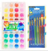 Watercolour Paint Kit, International Arrivals Washable Watercolour Paint Kit with 36 Beautiful Vibrant Colours, Cover doubles as a Palette Plus 6 Rainbow Taklon Brushes – Awesome Art Set for All Ages