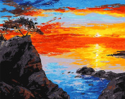Arts Language Wooden Framed 41cm x 50cm Paint by Numbers Diy Painting Sea sunset