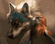 No Frame Wolf And Eagle Animals Diy Painting By Numbers Paint On Canvas Acrylic Colouring Painitng By Numbers For Home Wall Decor