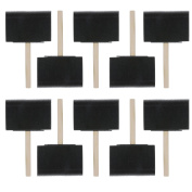 US Art Supply 10cm Foam Sponge Wood Handle Paint Brush Set (Value Pack of 10) - Lightweight, durable and great for Acrylics, Stains, Varnishes, Crafts, Art