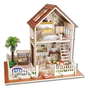 Handmade Doll House Miniature with Furniture Dust Cover LED Light, Diy Wooden Dollhouse Toys Fit for Teens Adults Christmas Gifts and Crafts Assemble Their Own in English instruction Paris Apartments