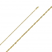 Stunning 14K Solid Yellow Gold Diamond Cut Rope Chain Necklace- 1.9mm Width & 16 inches long