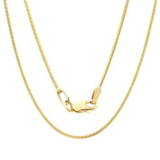 Solid 14K Yellow Gold Round Snake Chain Necklace- 0.8mm Width & 16 inches in Length