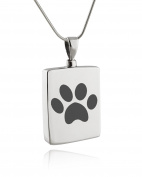 Sterling Silver Paw Print Memorial Urn Necklace for Ashes, Pet Cremation, 46cm Snake Chain