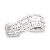 18K White Gold 1 1/5ct TDW Curved Two-Row Channel-Set Diamond Ladies Fashion Band