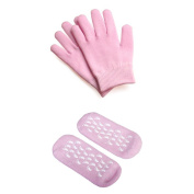 Pair of socks ang gloves - TOOGOO(R)Beauty SPA Socks and Gloves Moisturising Gel Therapy Skin Care - Pink