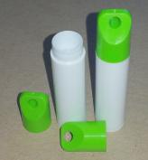 50 New Empty WHITE Lip Balm Tubes WITH GREEN LANYARD CAPS - 5ml