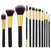 Hunputa 12Pcs Makeup Brushes Set Powder Foundation Eyeshadow Eyeliner Lip Cosmetic Brush