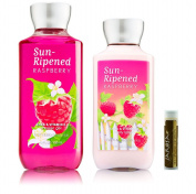 Bath & Body Works Sun-Ripened Raspberry Shower Gel 10 fl.oz/295 mL & Body Lotion 8 fl.oz/236 mL with a Jarosa Bee Organic Chocolate Bliss Lip Balm