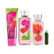 Bath & Body Works Sweet Pea Body Lotion 8 fl.oz/236 mL, Shower Gel 10 fl.oz/295 mL & Ultra Shea Body Cream 8 oz/226g With A Jarosa Beauty Bee Organic Peppermint Bliss Lip Balm