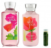 Bath & Body Works Sweet Pea Shower Gel 10 fl.oz/295 mL & Body Lotion 8 fl.oz/236 mL with a Jarosa Bee Organic Peppermint Lip Balm
