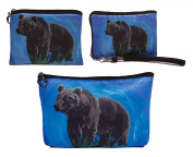 Bear Gift Set- Coin Purse, Wristlet and Cosmetic Bag - From My Original Painting- Gift Set