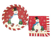 Christmas Snowman Disposable Dinnerware Set and Holiday Party Bundle - Snowman - 18 guests, Dinner Plates, Paper Napkins