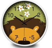 Children Kids Wall Clock - Silent - Stainless Steel Frame - Analogue Digital Battery Operated - Animal Nature Themed - Best Room Décor/Baby Shower Gifts- Boys/ Girls/ Nursery - 30cm