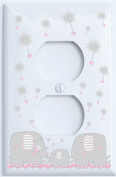 Grey and Pink Dandelion Elephant Outlet Switch Plates Covers / Elephant Nursery Decor