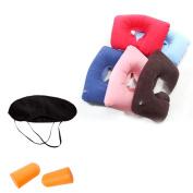 Inflatable Travel U-shaped pillow Rest Air Cushion+ Eye Mask+Earplugs Random Colour