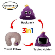 3 in 1 Emoji Pillow iPad Holder Backpack Travel Neck Pillow Smiley Emoticon Cushion Stuffed Soft Plush Toy