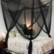 Bedroom Decor Corner Post Bed Canopy King Size 4 Mosquito Net Full Queen Netting Black Bedding